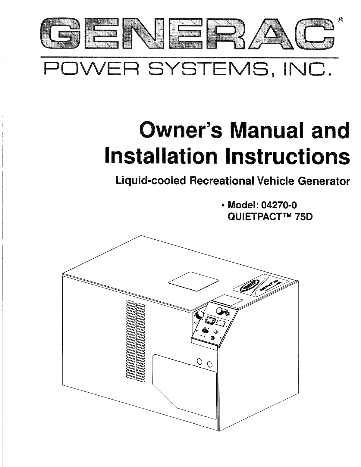 Generac Power Systems Portable Generator 0 User Guide