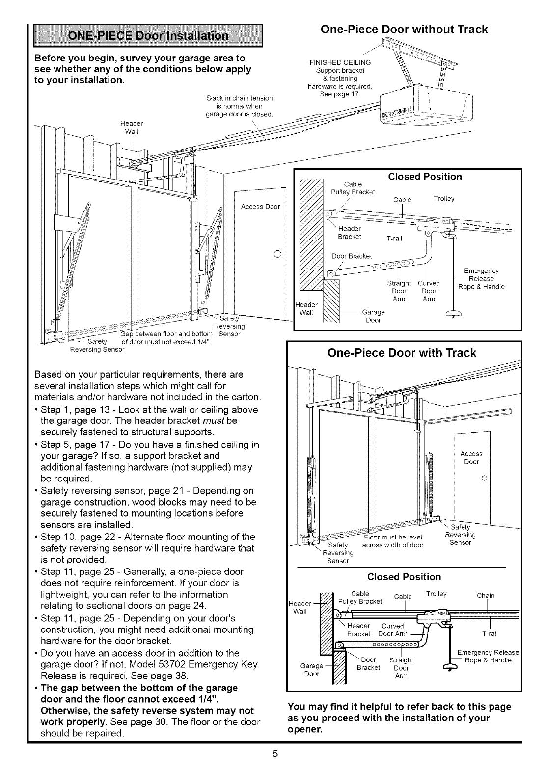 Page 5 Of Sears Garage Door Opener 139 Srt User Guide