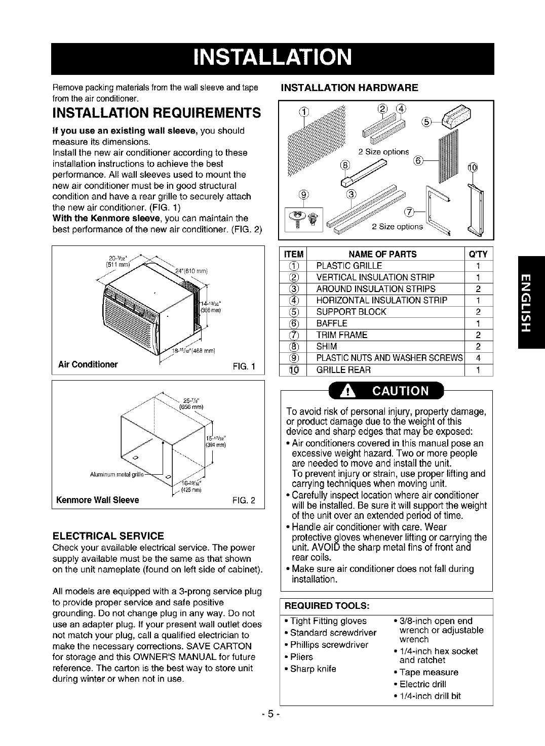 Page 5 Of Kenmore Air Conditioner 580 User Guide