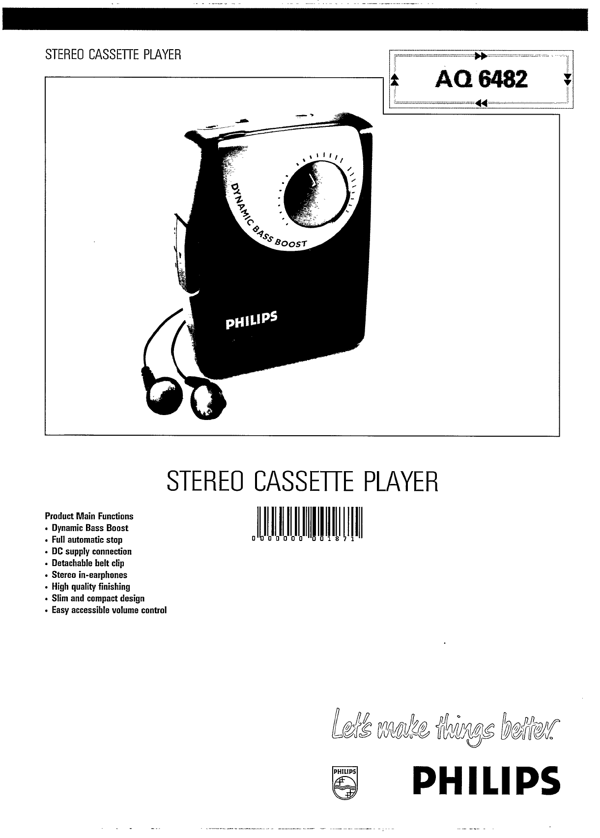 Philips Cassette Player Aq User Guide