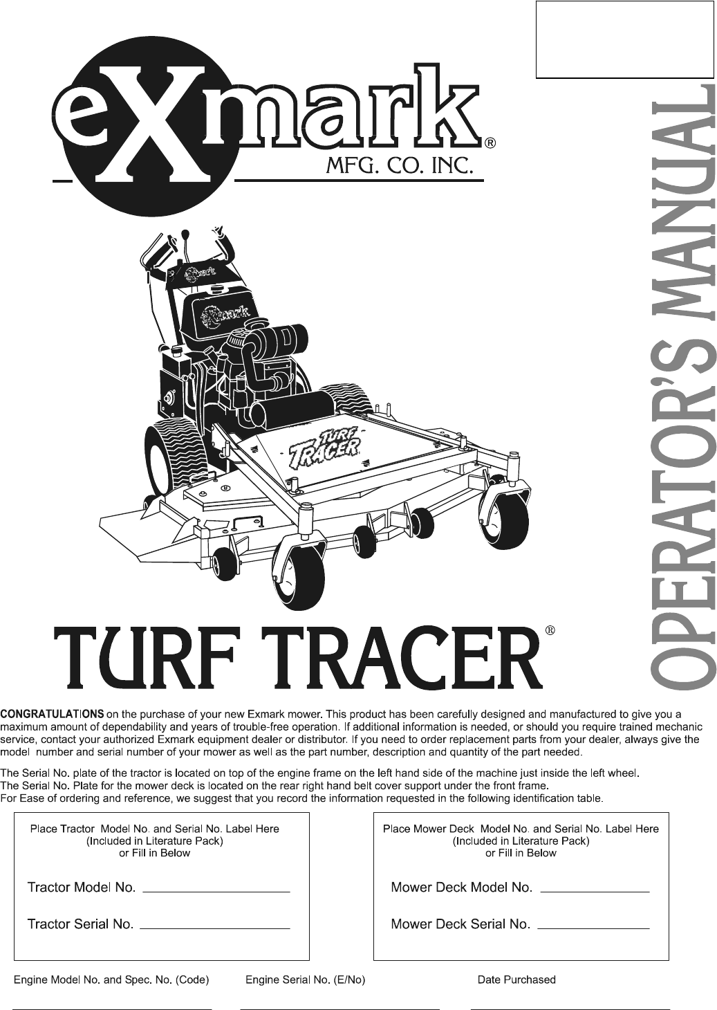 Exmark Lawn Mower Fmd524 User Guide