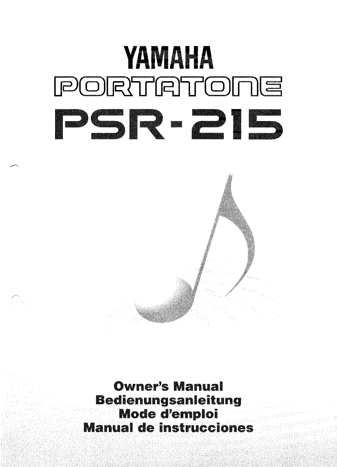 Yamaha Musical Instrument Psr 215 User Guide