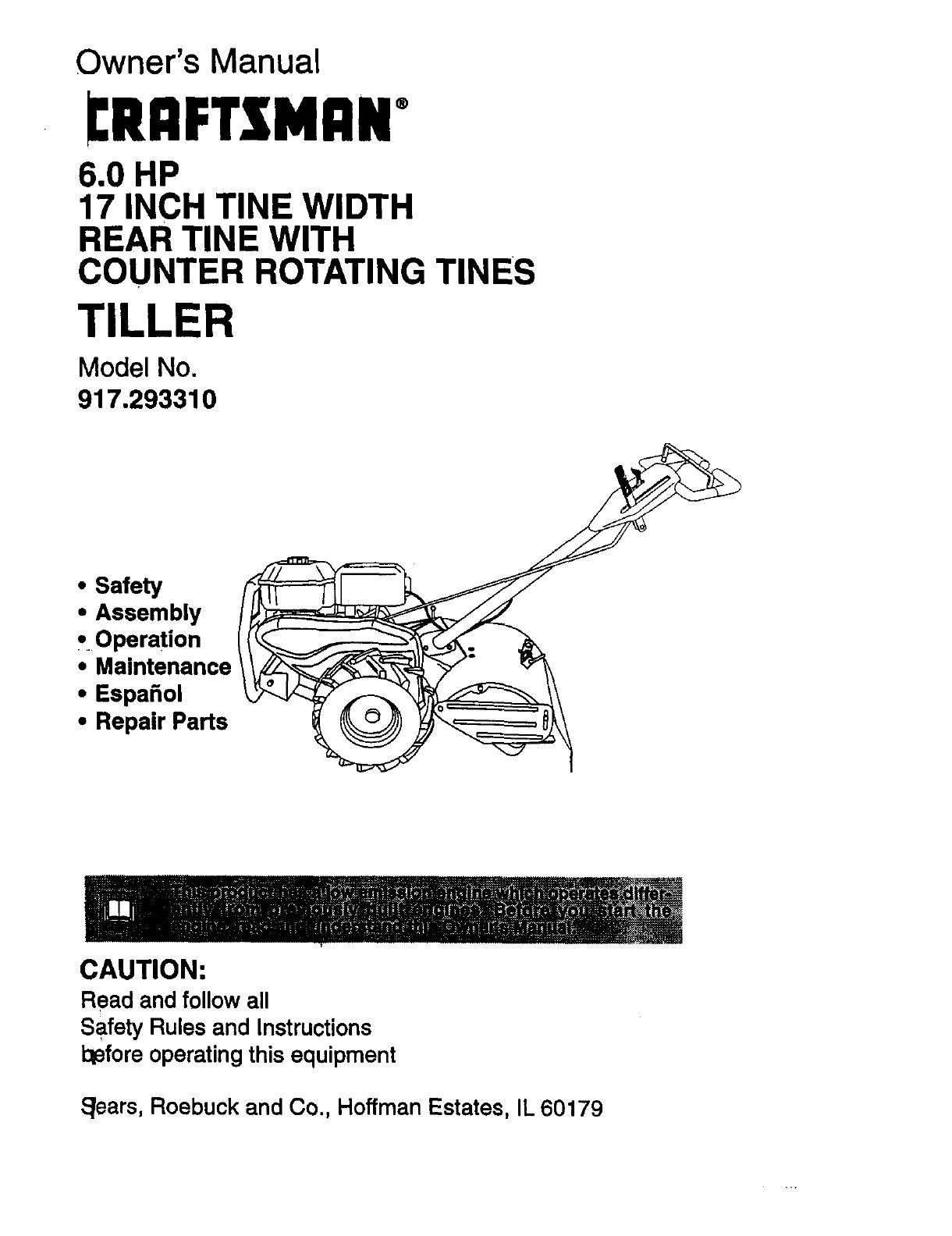 Craftsman Tiller 917 User Guide