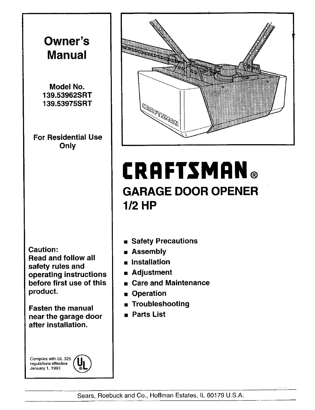 Craftsman Garage Door Opener 139 Srt User Guide