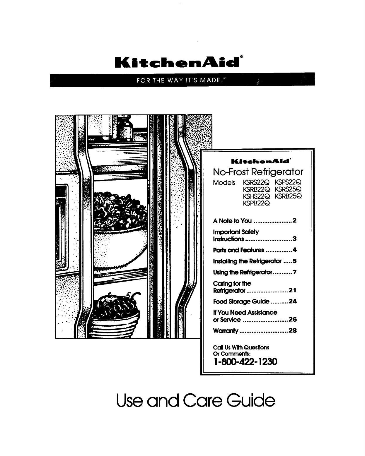 Kitchenaid Refrigerator Ksrs25q User Guide