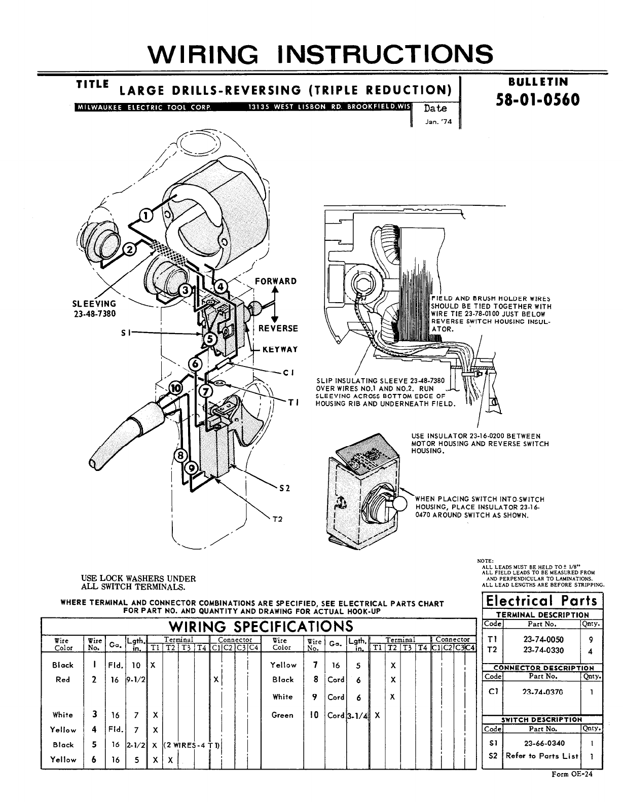 Milwaukee drill 58 01 0560 user guide manualsonline milwaukee hole hawg wiring diagram