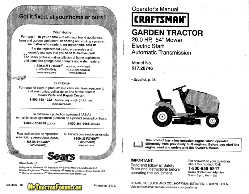 Craftsman Lawn Mower 917 28746 User