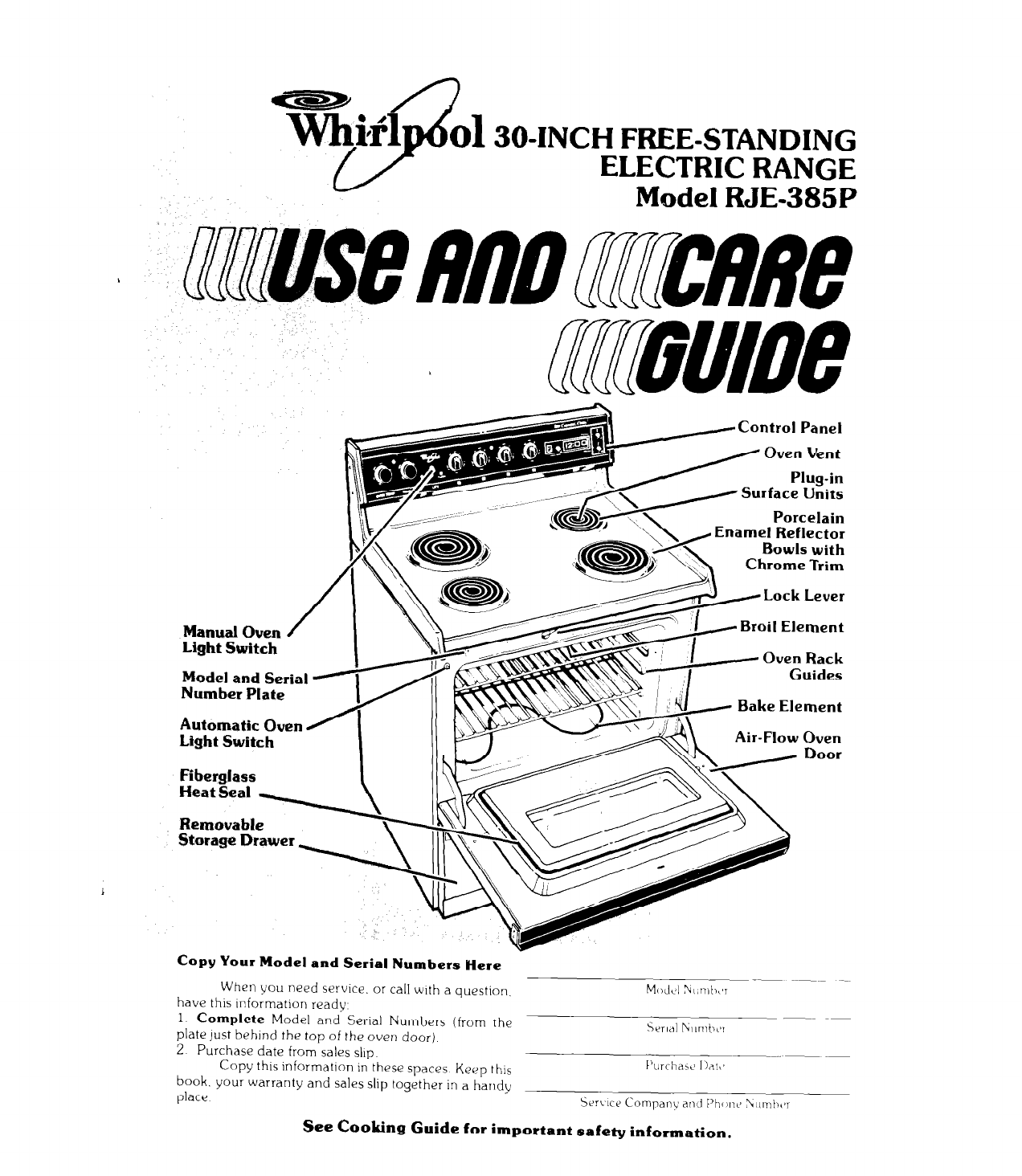 Whirlpool Stove Instruction Manual