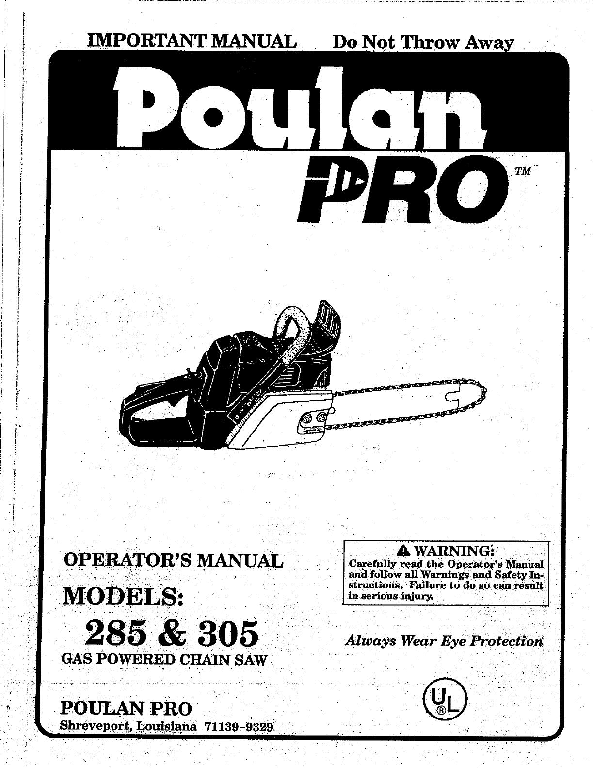 Poulan Chainsaw 305 User Guide
