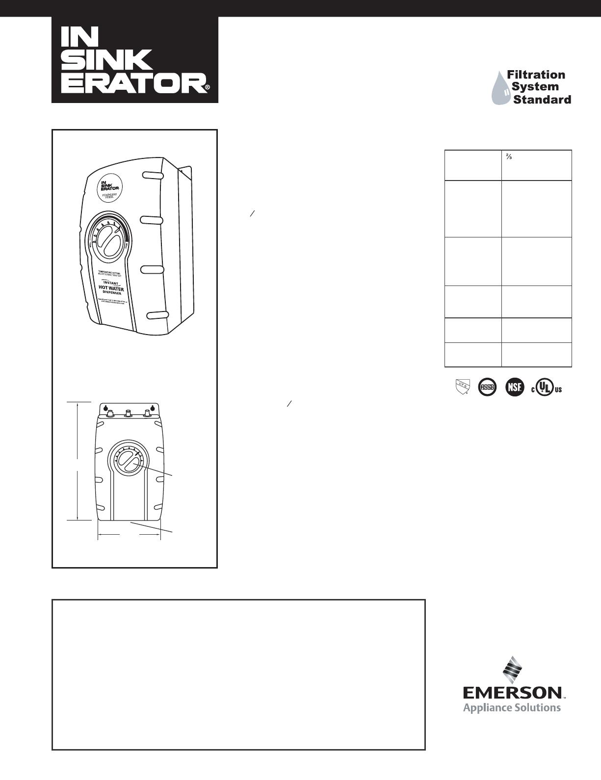 Insinkerator Water Dispenser Model Sst Fltr User Guide