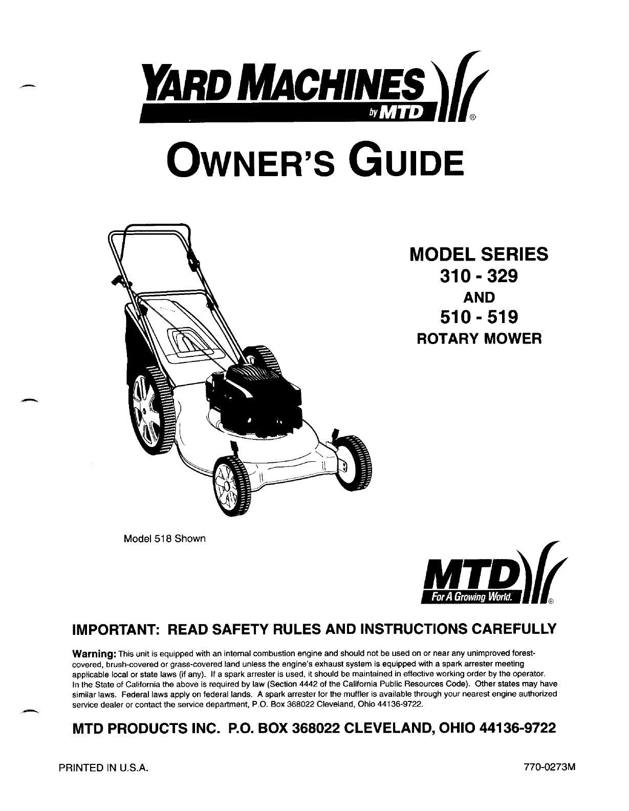 Yard Machines Lawn Mower 510 519 User Guide