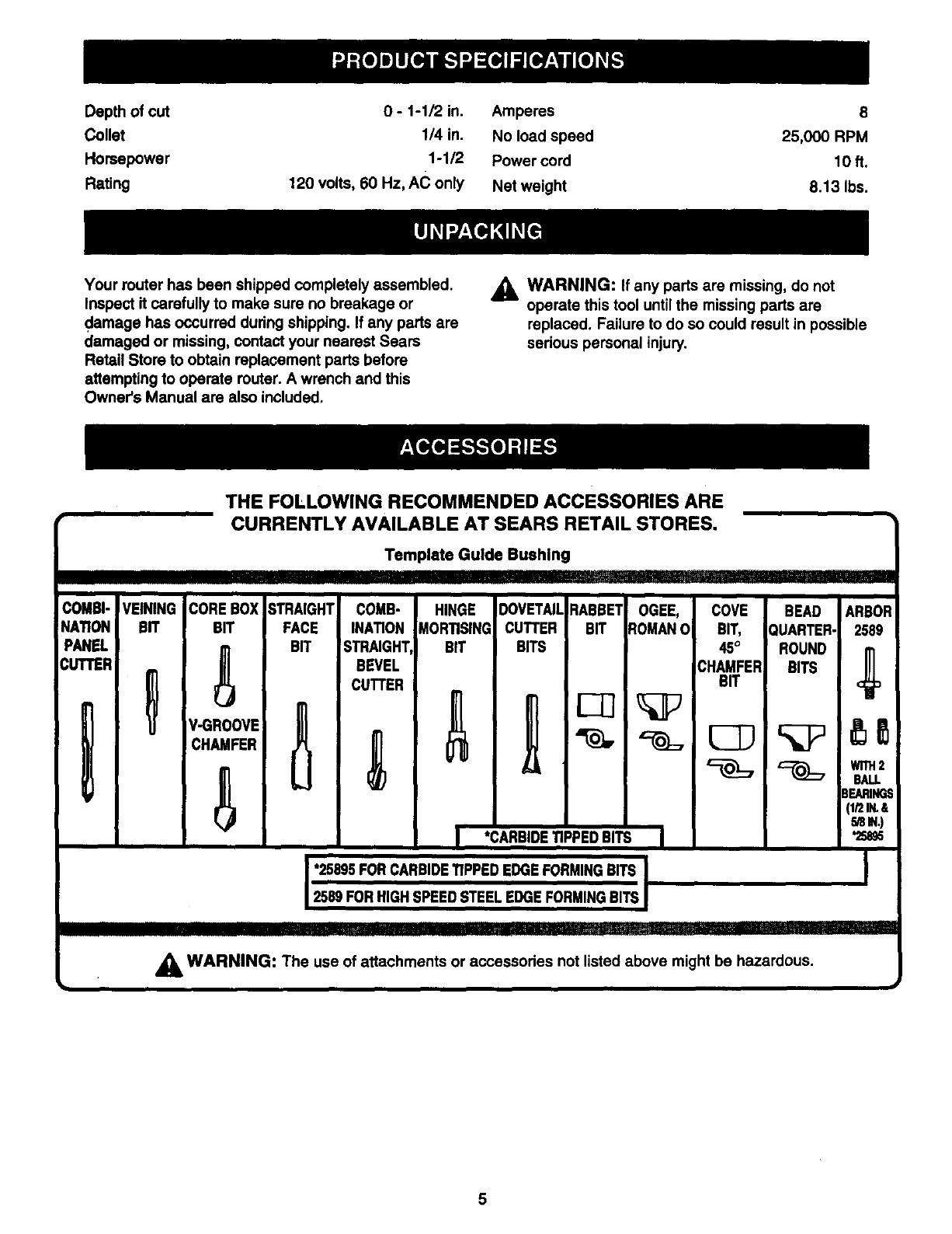 Page 5 Of Craftsman Router 315 175 User Guide