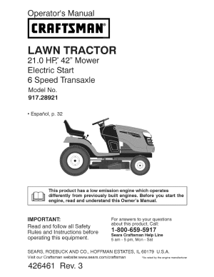Craftsman Lawn Mower YT 3000 User Guide | ManualsOnline