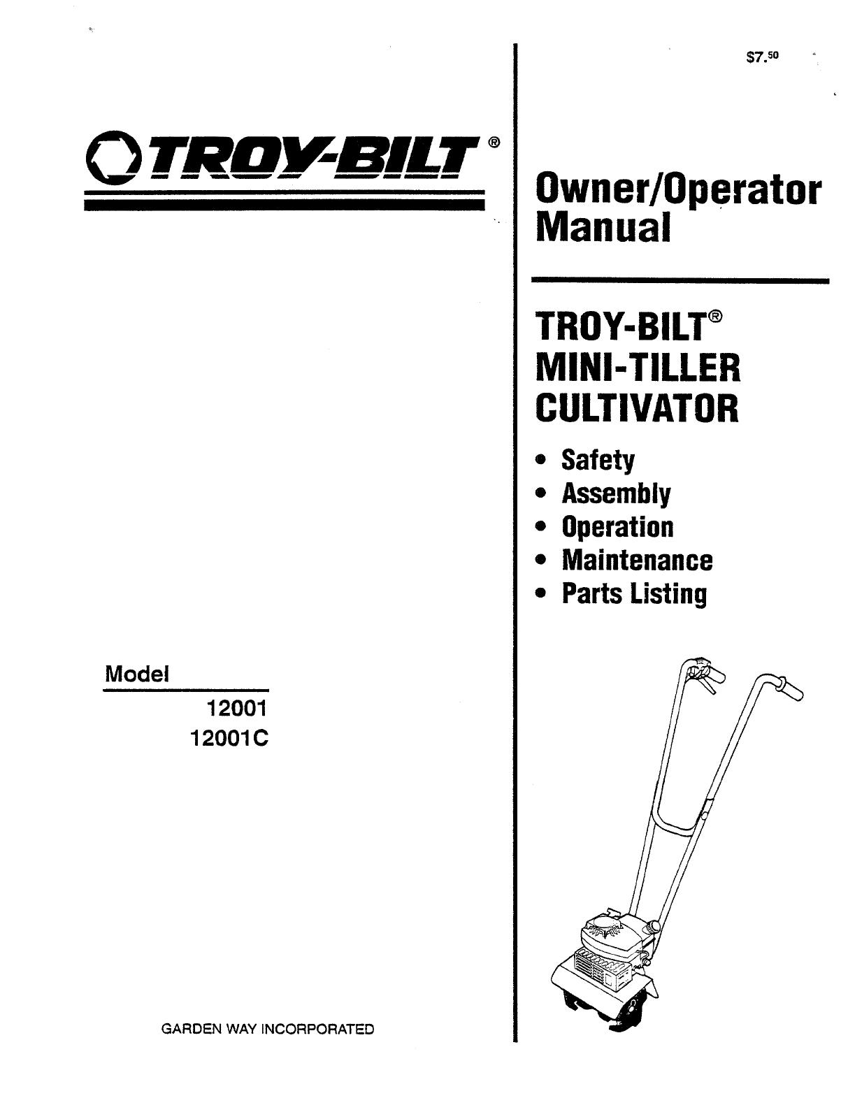Troy Bilt Tiller User Guide