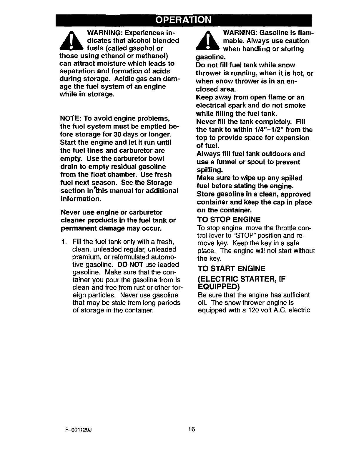 Page 16 Of Craftsman Snow Blower 536 User Guide