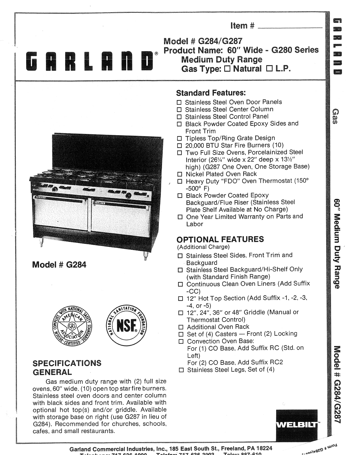 Garland Oven G284 User Guide