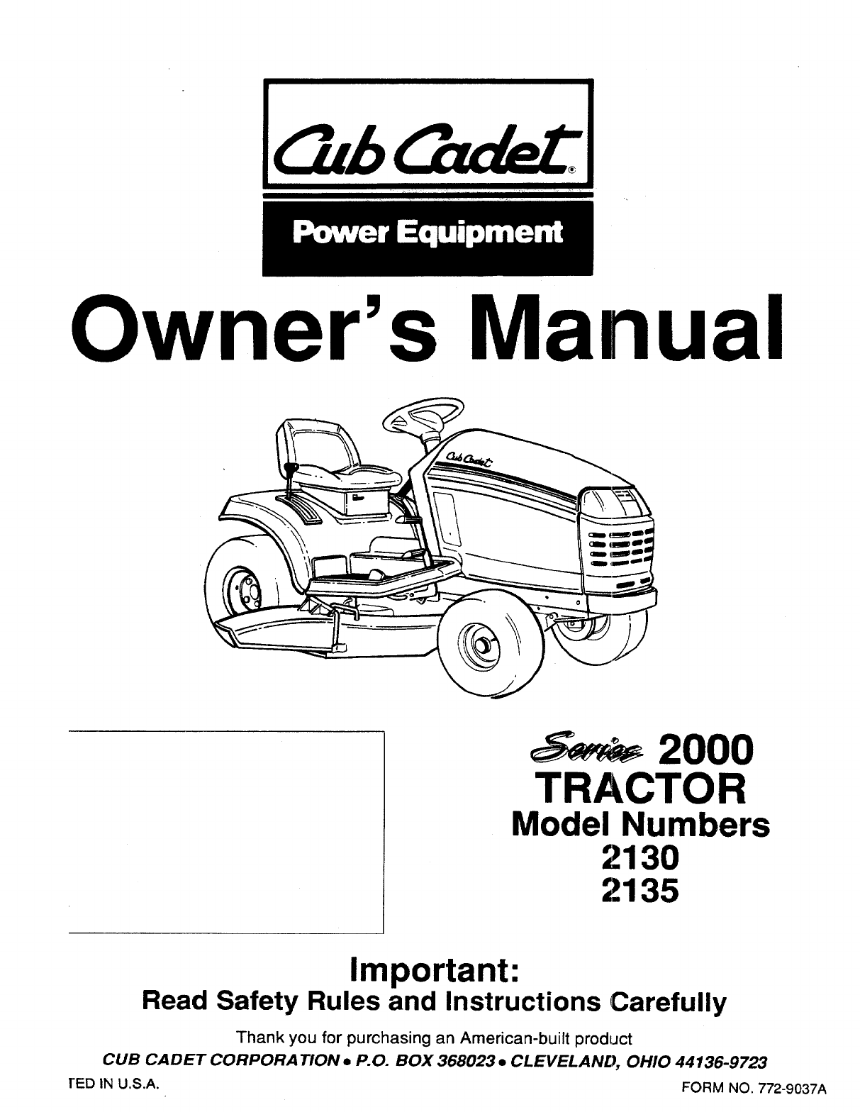 Cub Cadet Lawn Mower User Guide