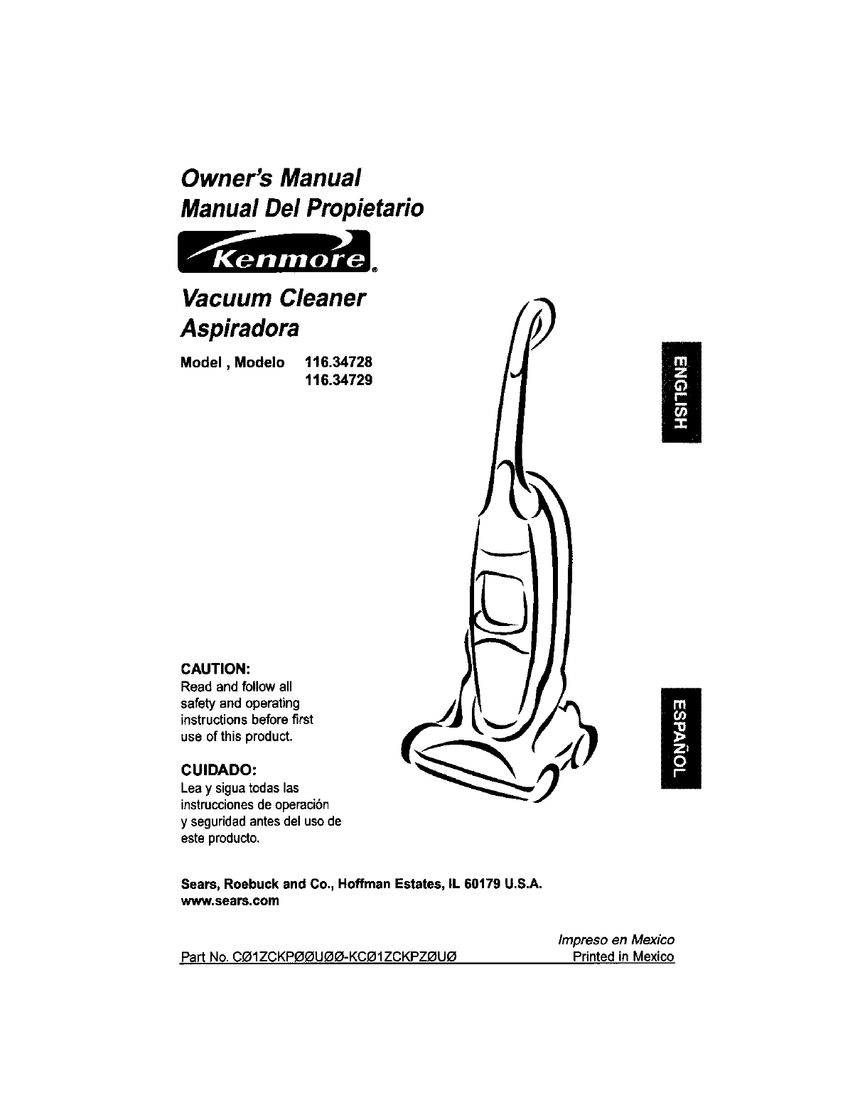 Kenmore Vacuum Cleaner 116 User Guide