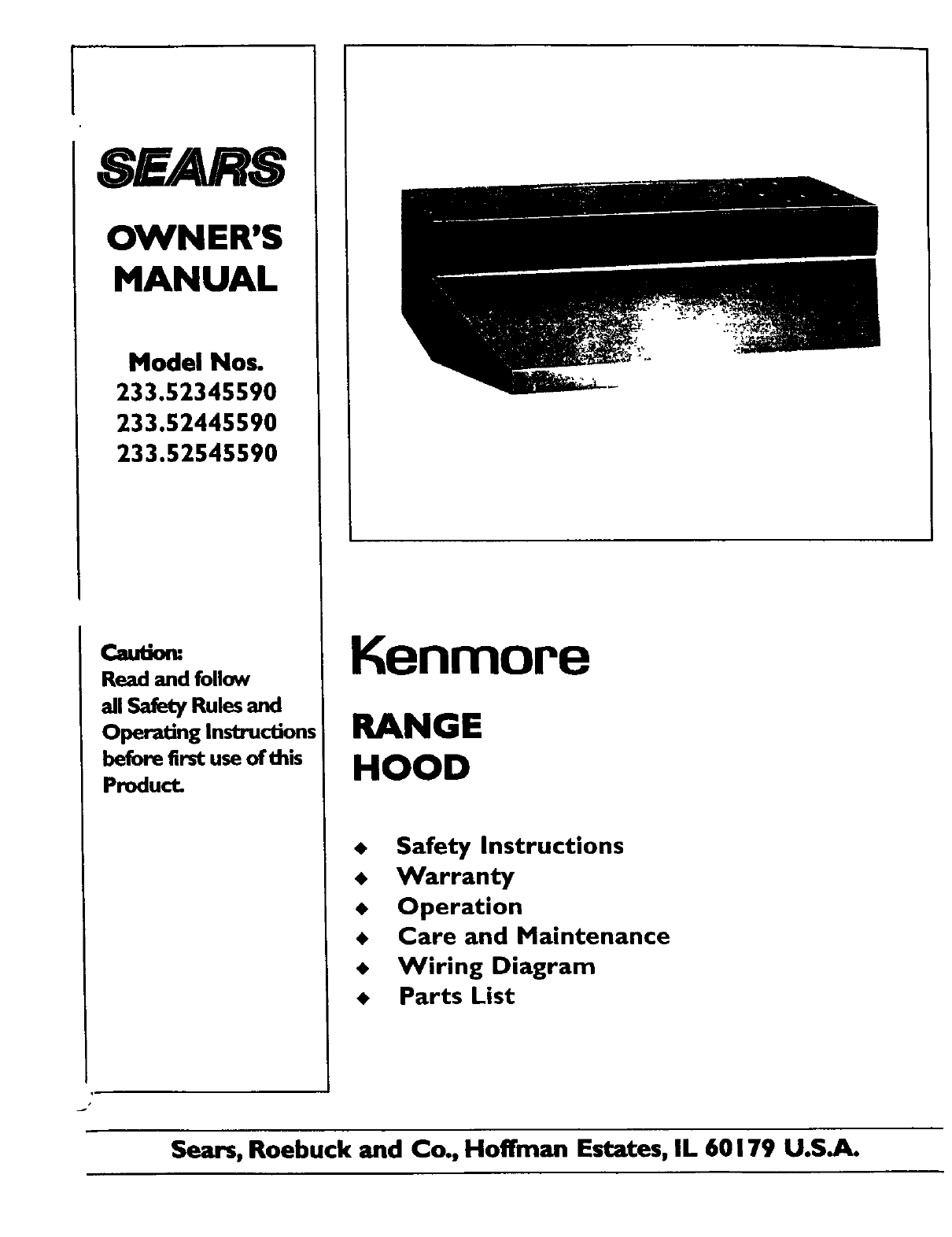 Kenmore Ventilation Hood 233 User Guide