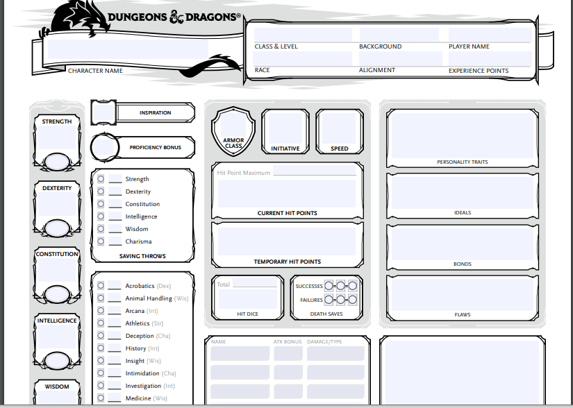 """Download """" Dungeons And Dragons Character Sheet """" (2020)."""