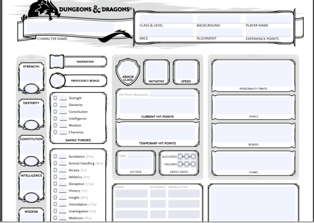 Dungeons And Dragons Character Sheet