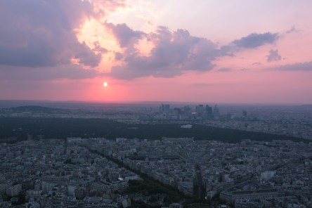 Sunset from the Eiffel tower.