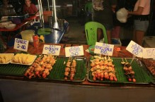 Barbeque selection, very cheap (40 baht=1 EUR): Chicken, pork, beef, even crocodile