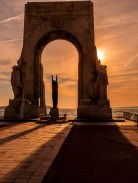 Sunset in the corniche, in the monument for the dead of the armies of the orient