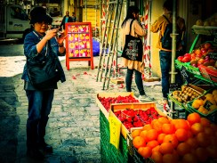 Fresh fruit and vegetables in the centre of Aix create photographic opportunities