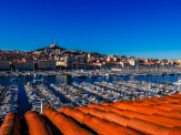 Morning view of the old port of Marseille from my hotel, with the Notre Dame de la Garde