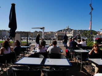One of the many cafes serving breakfast in the Vieux Port. A treat in the fine weather!