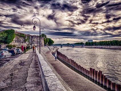 Strong HDR sunset along the banks of the Rhone #HDR