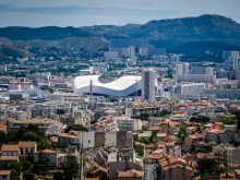 Zooming in to the Velodrome, the football stadium for Olympic de Marseille. As the name suggests it used to be a bicycle racing track