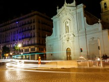 Light trails in the Vieux Port, in front of the church of St Ferreol. Long exposure