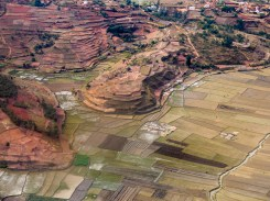 Approaching the airport of Antananarivo. Hills and rice paddies