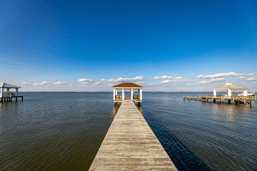 Private dock with Gazebo at Sounds Great Emerald Isle Vacation Rental PDL