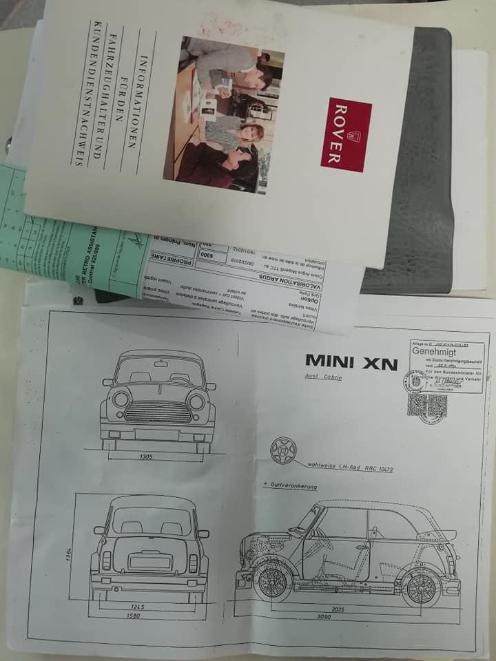 Rover Mini cabriolet Karmann papiers