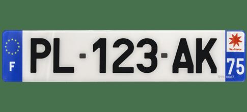 Plaque d'immatriculation plexiglas