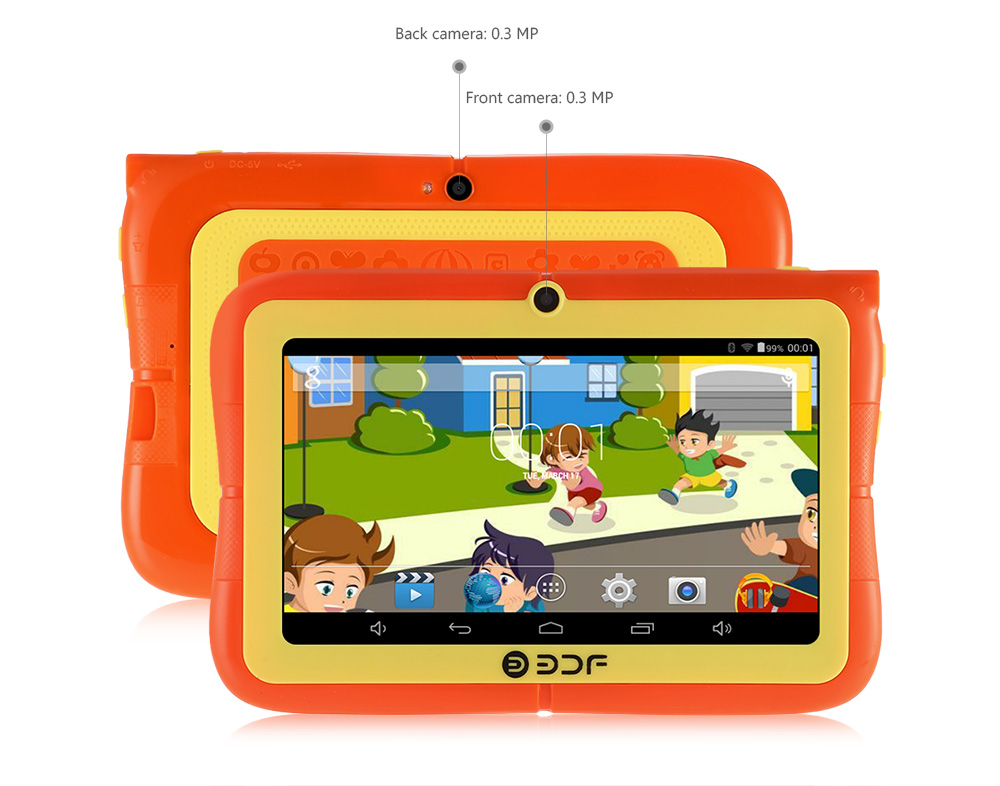 20170612101547 74847 BDF E88   7 Kids Tablet PC Android 4.4 512MB/4GB 0.3MP Google Play Store G Sensor   Green