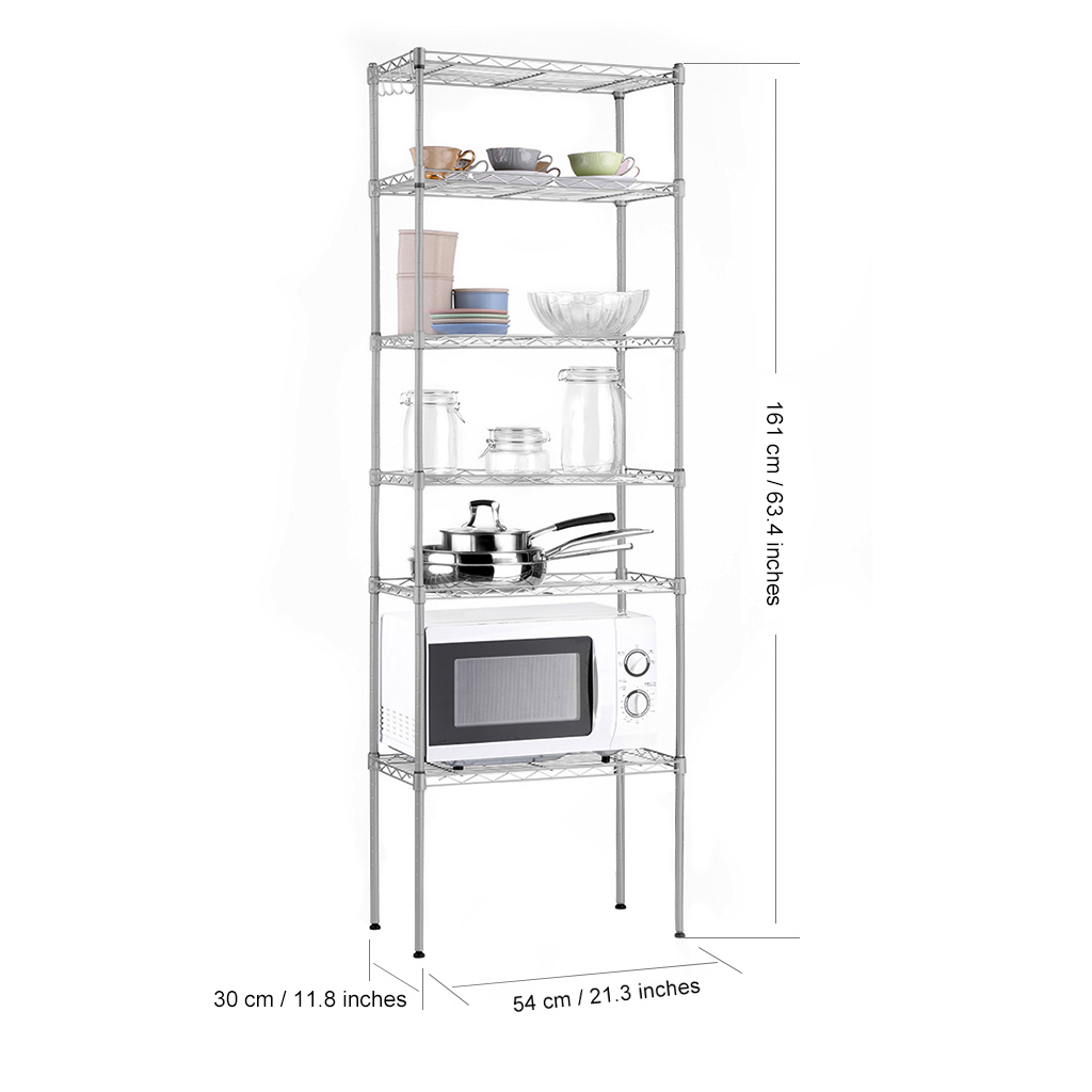 6 Tier Wire Shelving Racks Metal Shelf Kitchen Storage