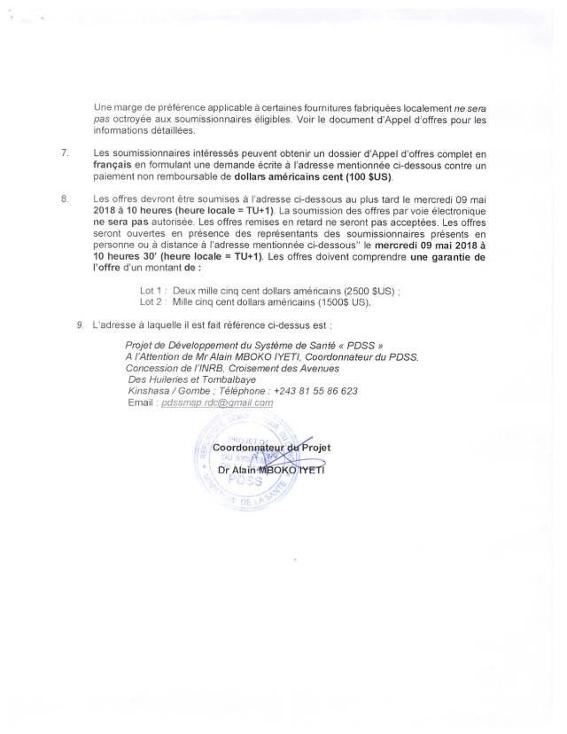 Acquisition des matériels de sensibilisation pour le compte du PDSS et autres programmes du Ministère de la Santé