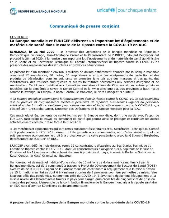 Communiqué de presse conjoint Banque Mondiale Unicef