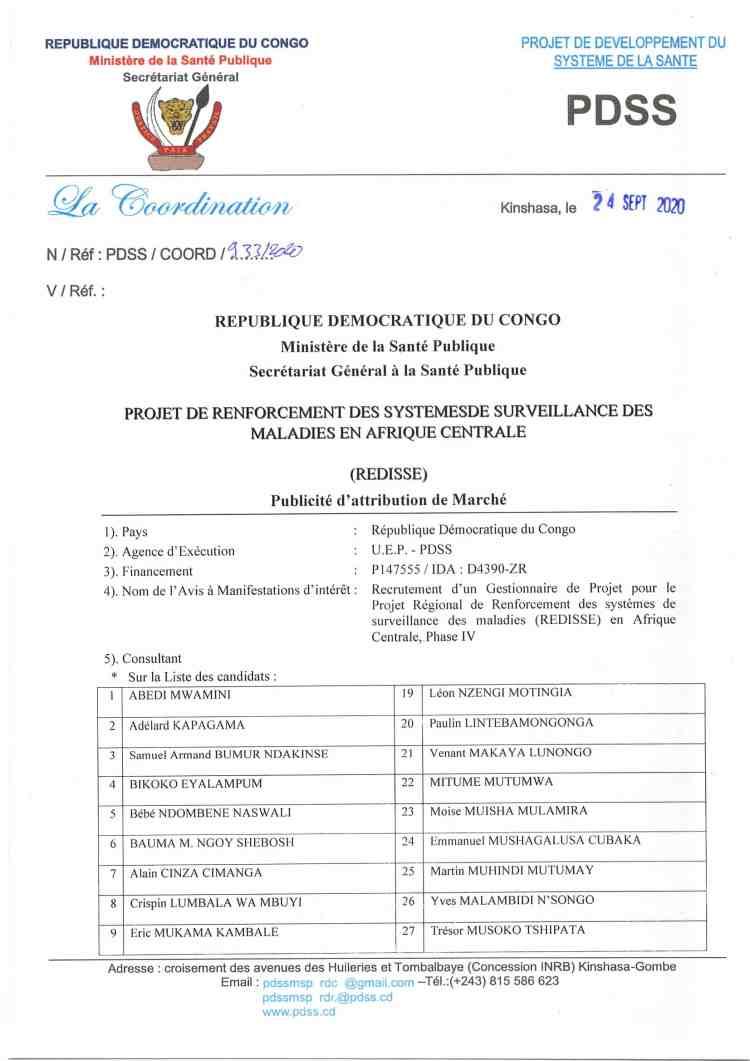Avis d'attribution : Recrutement d'un Gestionnaire de Projet pour le Projet Régional de Renforcement des systèmes de surveillance des maladies (REDISSE) en Afrique Centrale, Phase IV