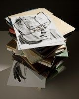 Life size head drawing made and positioned for glasses