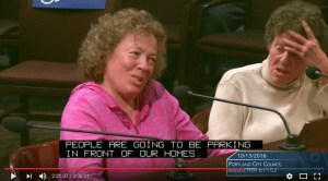 "Donna Bestwick is testifying at council.  She is saying ""People are going to be parking in front of our homes."""