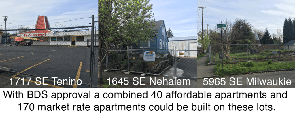 With BDS approval, three locations could support a combined 170 market rate apartments and 40 affordable apartments