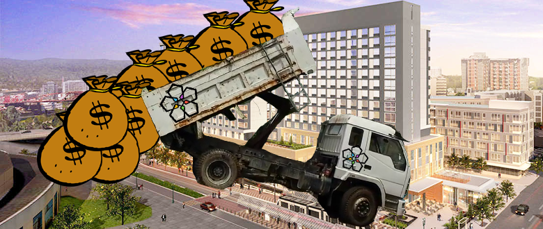 Dump Truck Dumping Money Bags On Convention Center Garage