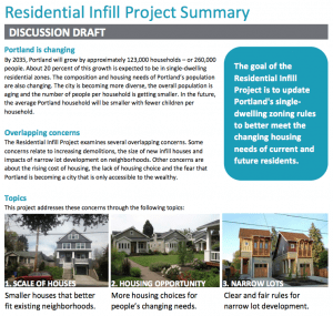 Screenshot of city Residential Infill Page