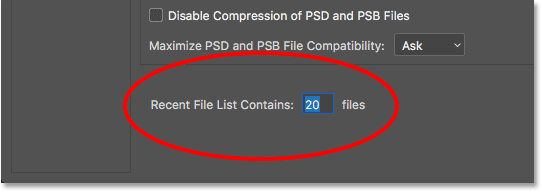 The Recent File List Contains option in the File Handling preferences. Image © 2016 Steve Patterson, Photoshop Essentials.com