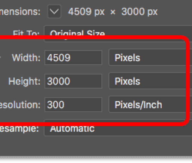 The Width Height And Resolution Options In The Image Size Dialog Box In Photoshop